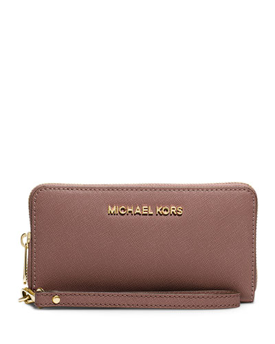 Jet Set Travel Saffiano Multifunction Tech Wristlet Wallet, Dusty Rose