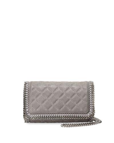 Falabella Studded Crossbody Bag, Light Gray
