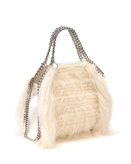 Falabella Mini Faux-Fur Tote Bag, Ivory