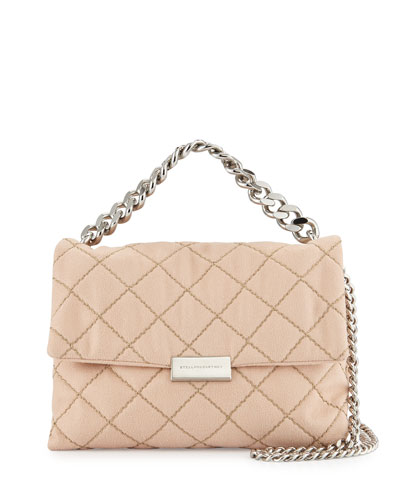 Quilted Small Flap Shoulder Bag, Powder