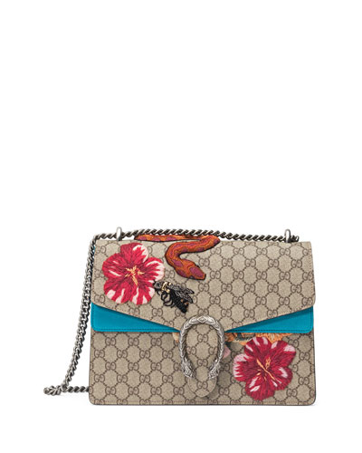 Dionysus GG Supreme Canvas Serpent Geranium Embroidered Shoulder Bag