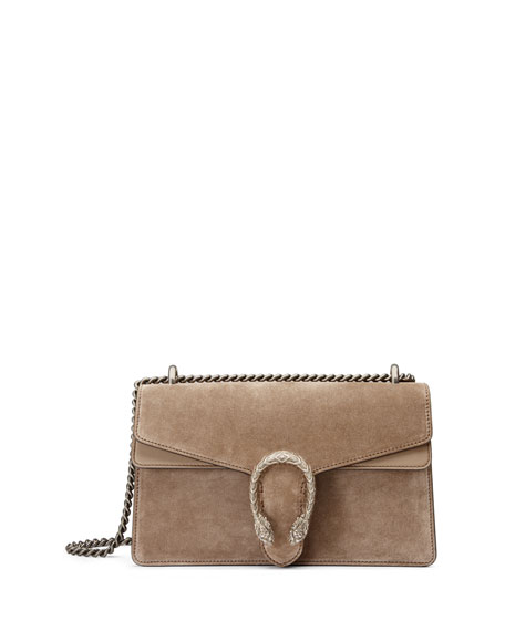 Gucci Testa Tigre Small Suede Dionysus Shoulder Bag, Taupe
