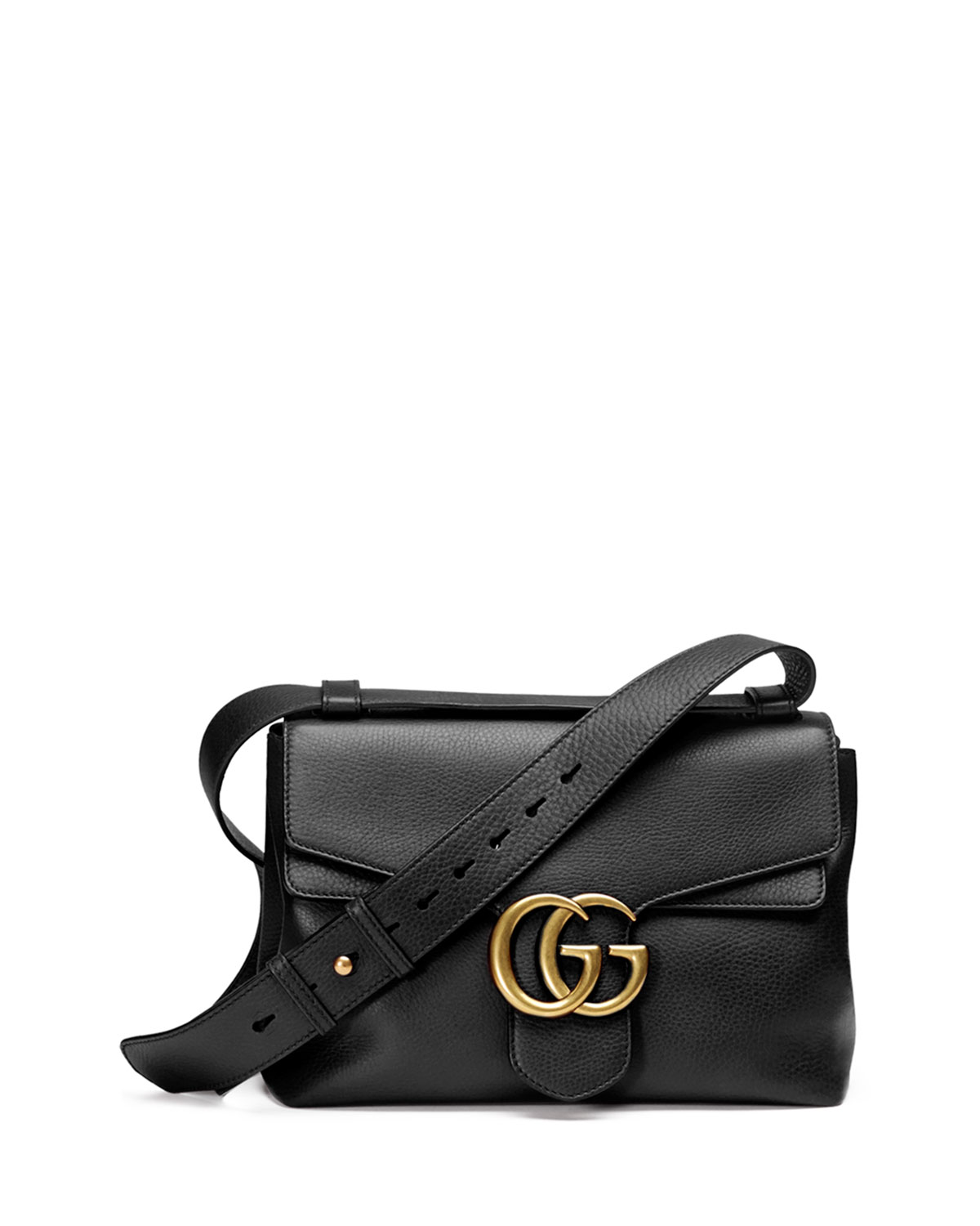 92b9d9b67 Gucci GG Marmont Medium Leather Shoulder Bag, Black | Neiman Marcus
