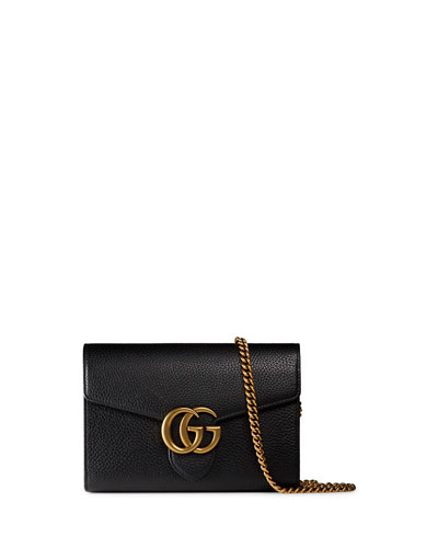 Interlocking GG Marmont Leather Wallet-on-Chain, Black