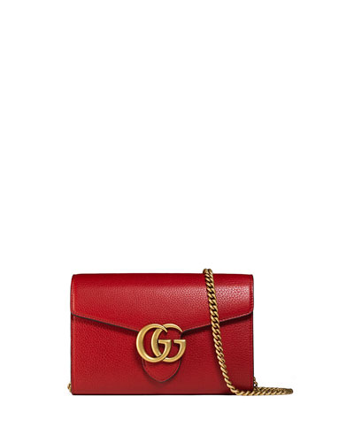 Gucci Interlocking GG Marmont Leather Wallet-on-Chain, Red