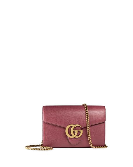edb24095d09 Gucci Interlocking Gg Marmont Leather Wallet On Chain Rose Neiman