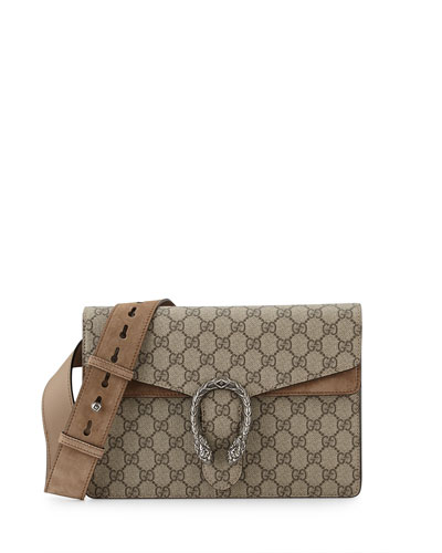 Testa Tigre GG Supreme Shoulder Bag, Ebony/Taupe