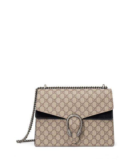 Gucci Dionysus GG Supreme Canvas Shoulder Bag, Beige/Ebony/Nero