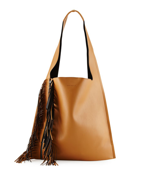 Elena Ghisellini Estia Bicolor Fringe Shoulder Bag, Tan/Black