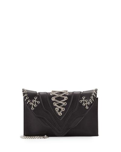 Selina Fetish Chain Crossbody Bag, Black