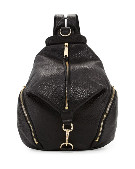 Rebecca Minkoff Julian Zipper-Trim Leather Backpack, Black