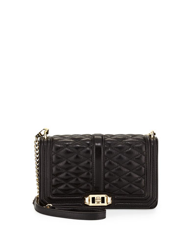 Love Quilted Crossbody Bag, Black