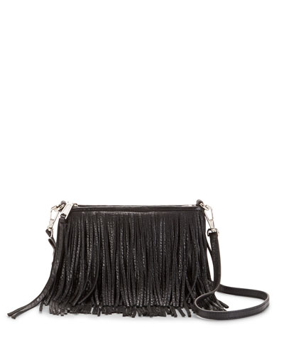 Finn Leather Fringe Crossbody Bag, Black