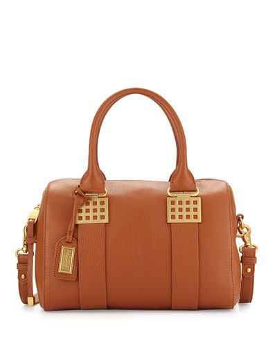 Ally Leather Satchel Bag, Cognac