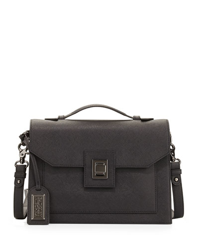 Jean Leather Satchel Bag, Black