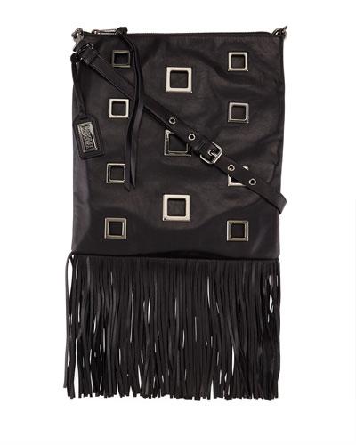 Lisa Napa Leather Fringe Tote Bag, Black