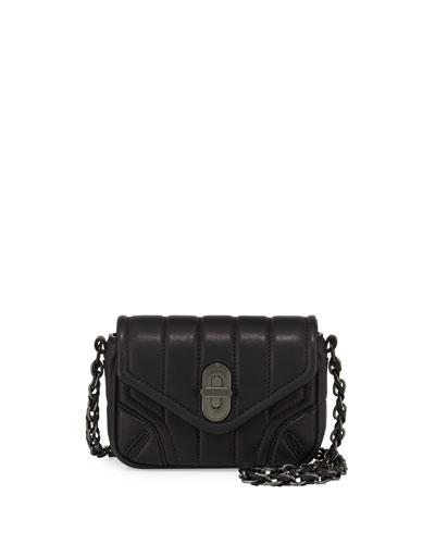 Daria Quilted Mini Crossbody Bag, Black