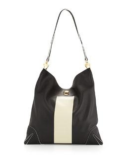 Sullivan Paint-Stripe Hobo Bag, Black