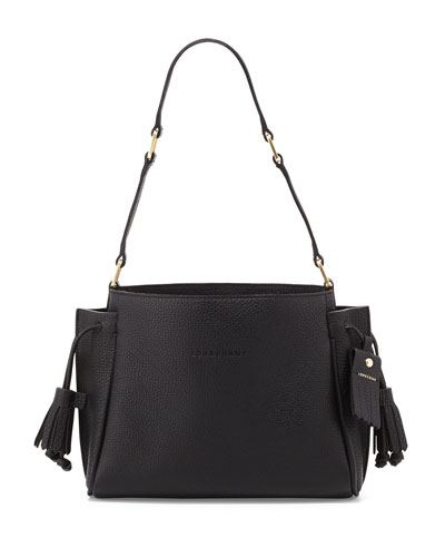 Penelope Small Leather Shoulder Bag, Black