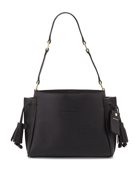 Longchamp Penelope Small Leather Shoulder Bag, Black | Neiman Marcus