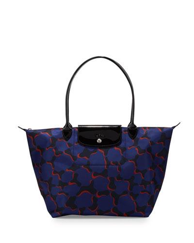 Le Pliage Neo Fantaisie Large Tote Bag, Cobalt Multi