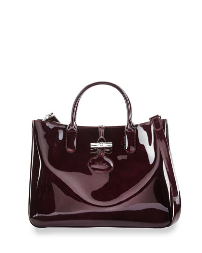 Roseau Medium Patent Tote Bag with Strap, Black Currant