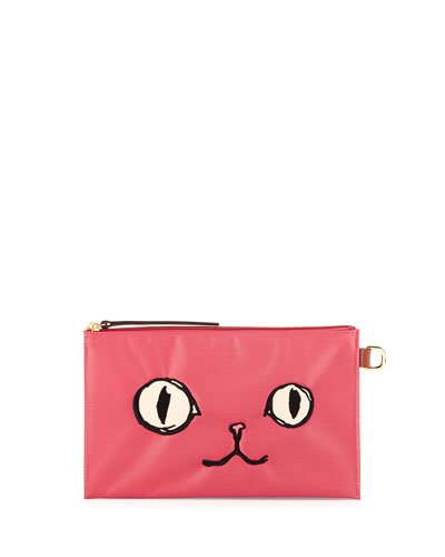 Le Pliage Miaou Cosmetics Case, Malabar Pink
