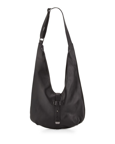 Front-Closure Leather Hobo Bag, Black