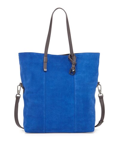Colorblock Suede Tote Bag, Cobalt Multi