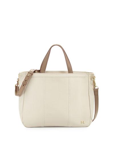 Halston Leather Satchel Bag, Bone/Ash