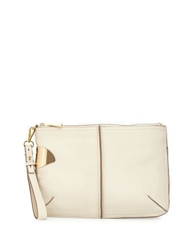 Two-Tone Leather Wristlet, Chalk