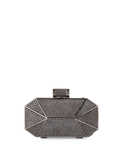 Three-Dimensional Minaudiere Evening Clutch Bag, Black