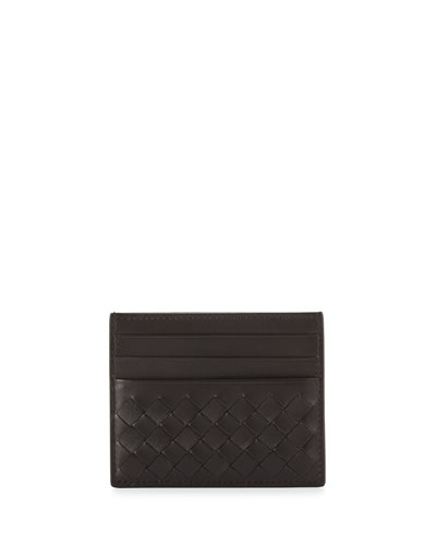 Woven Leather Credit Card Sleeve, Espresso