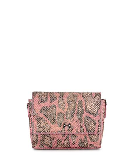 Halston Snake-Print Leather Wallet Clutch Bag, Fuchsia Multi