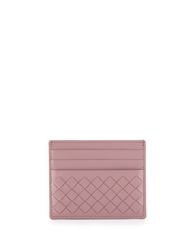 Woven Leather Credit Card Sleeve, Mallo