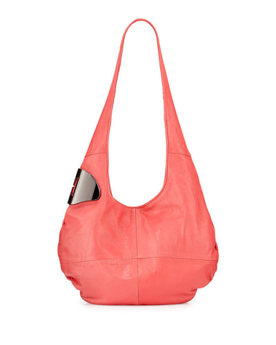 Metallic Logo Detail Hobo Bag, Guava
