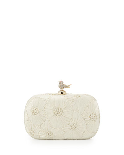 Holly Floral-Embellished Evening Clutch Bag, Ivory