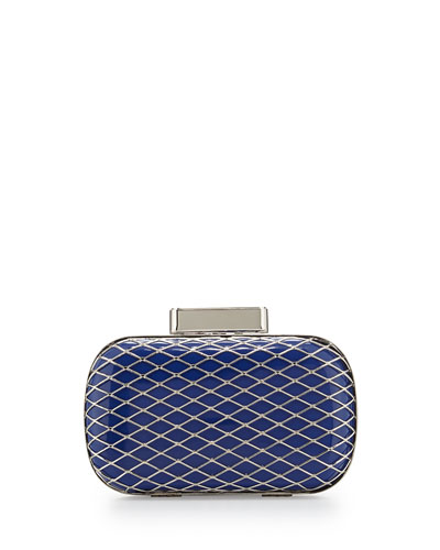 Christy Two-Tone Minaudiere Evening Clutch Bag, Blue