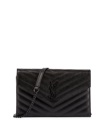 Monogramme Chevron Quilted Shoulder Bag, Black
