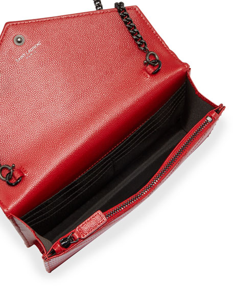 Monogram Medium Matelasse Crossbody Bag, Red