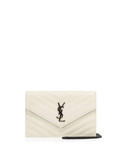 Monogram Medium Matelasse Shoulder Bag, White