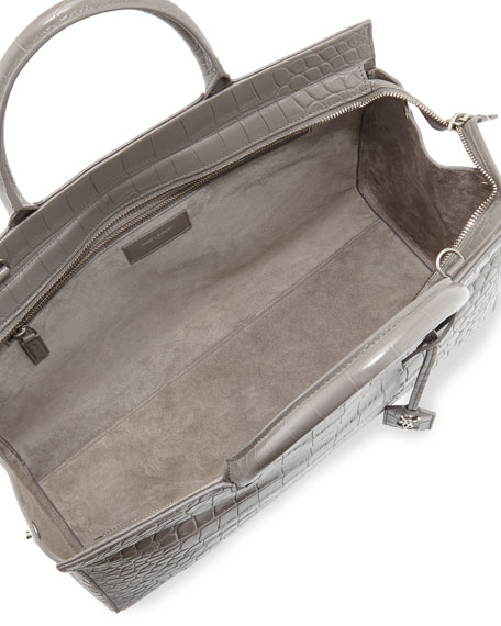 Cabas Gauche Croc Tote Stamped Rive Bag Gray 2D9IEH