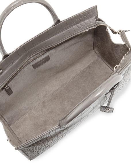 ysl clutch sale uk - Saint Laurent Cabas Rive gauche Croc-Stamped Tote Bag, Gray
