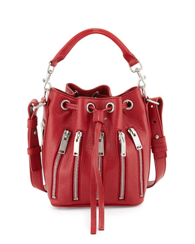 Emmanuelle Small Zip Bucket Bag, Red