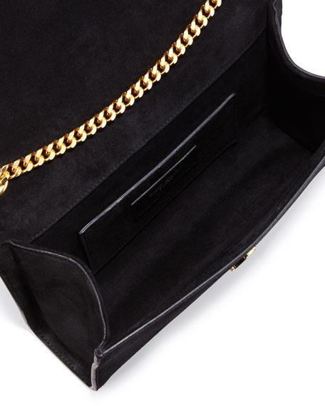 Monogram Small Suede Fringe Shoulder Bag, Black
