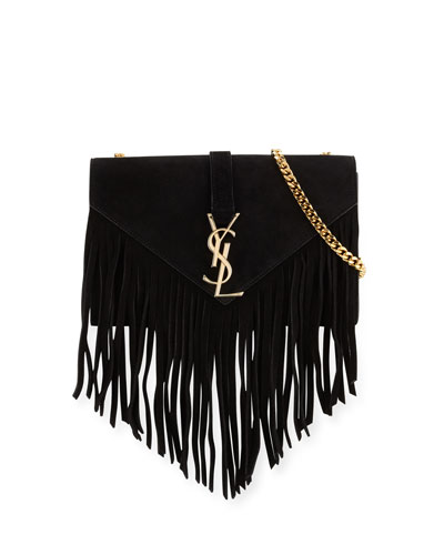 Monogram Small Suede Fringe Shoulder Bag, Black