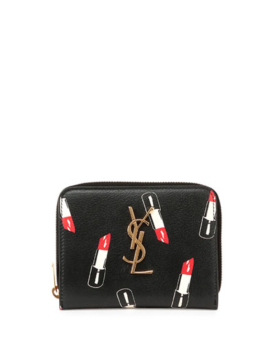 Monogram Small Lipstick-Print Wallet, Black/Red/White