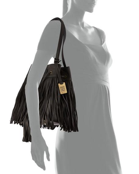 Heidi Fringe Drawstring Shoulder Bag, Black