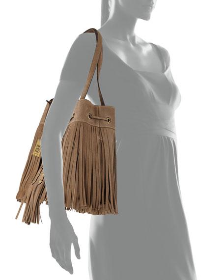 Heidi Fringe Drawstring Shoulder Bag, Gray