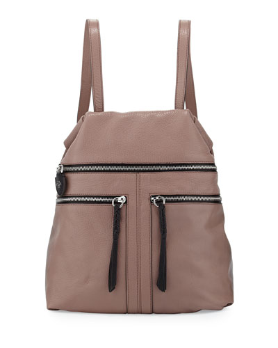 Chloe Leather Backpack, Mushroom